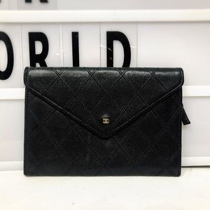 Chanel quilted Leather envelope thin long wallet